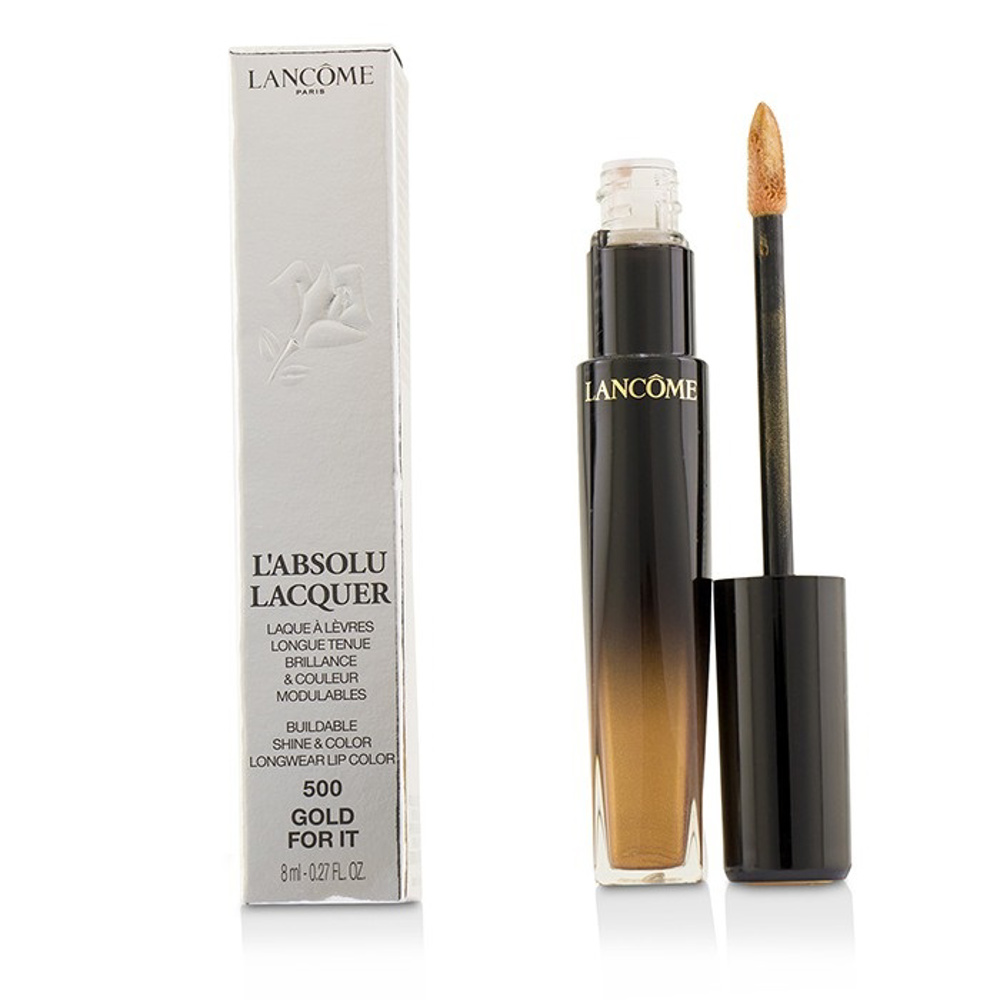 Lancome L''''Absolu Lacquer Buildable Shine & Color Longwear Lip Color - # 500 Gold For It 8Ml