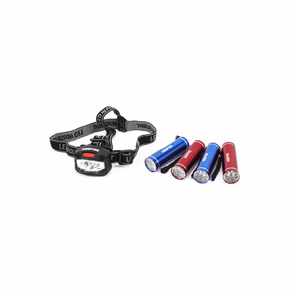 Geepas GFL51021UK 2-LED + 3W LED Headlight & 4pc 9-LED Aluminum Flashlights Set- 3-AAA Batteries Included and Pre-Installed, Flashlight with Lanyard for Hang up, Great for Camping, Hiking, Hunting, Fishing and BBQ