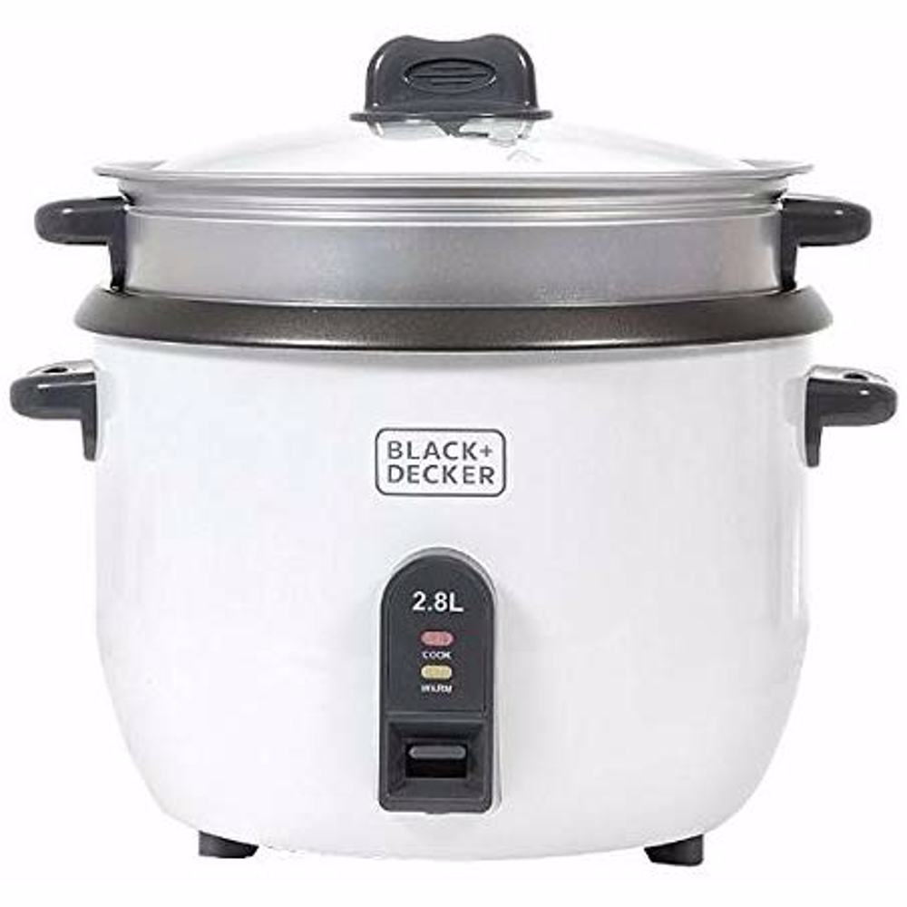 Black+Decker Rice Cooker 1100W, White, 2.8 litres, Rc2850-B5