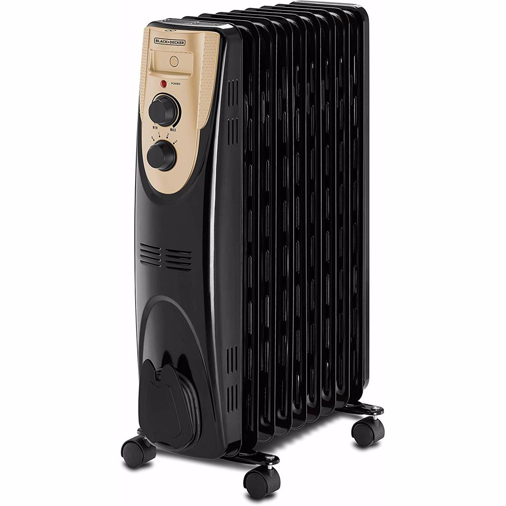 Black+Decker 2000W 9 Fin Oil Radiator Heater, OR090D-B5 - Black