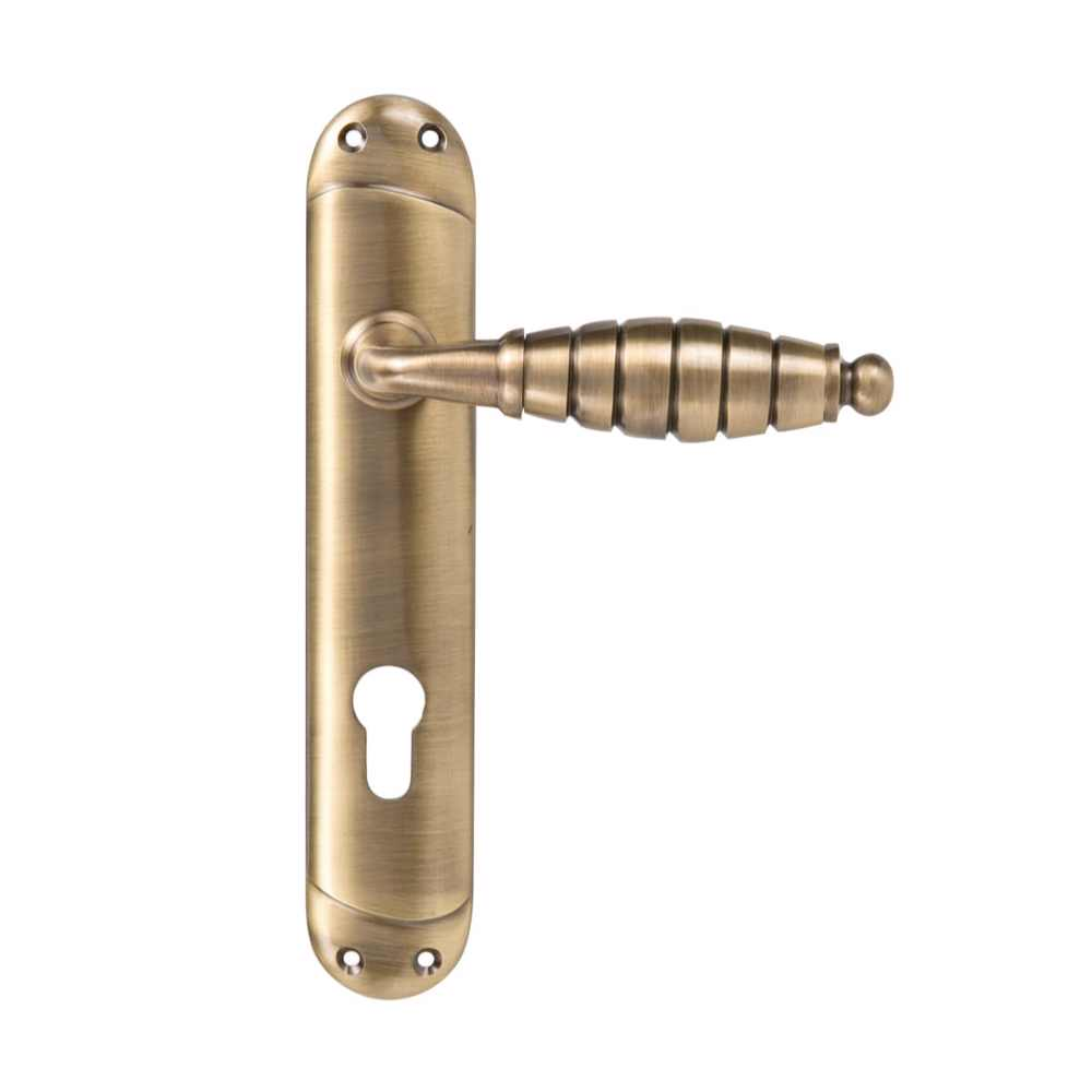 Yale YA-08-AB Strarford Euro Handle for Main Door - Antique Brass