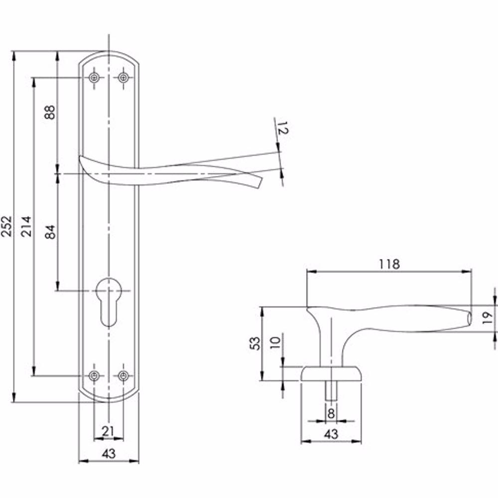 Yale YA-14-AB Bristol Euro Handle for Main Door - Antique Brass