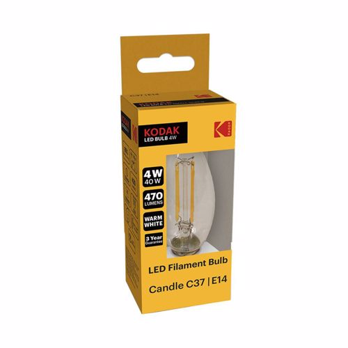 Kodak Led Filament Bulb Candle C37 E14 4W 470L Warm White