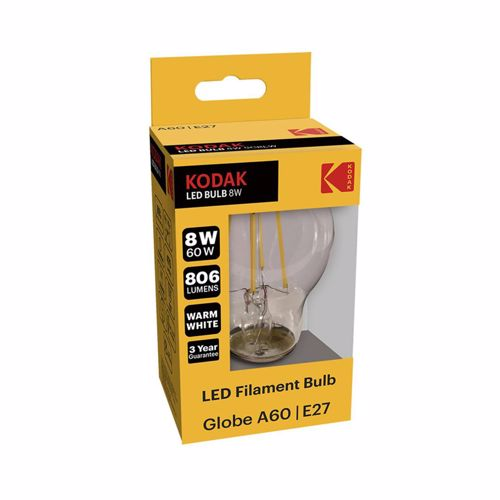 Kodak Led Filament Bulb Globe A60 E27 8W 806L Warm White