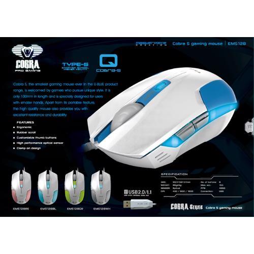 E BLUE EMS128BL Cobra S Compact Optical Gaming USB Mouse - 1600 DPI, White/Blue