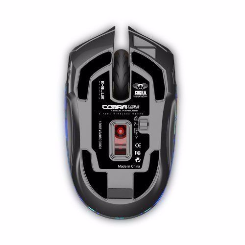 E Blue EMS608BKAA IF Cobra Type S Rechargeable 2.4GHz Wireless LED Compact Gaming Mouse - Black+Gold