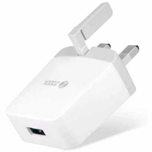 Zoook Travel Charger 18Watts Qualcomm 3.0 certified for fast charging (QC3.0) UK Plugs - White with Grey