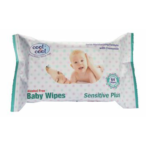 Cool & Cool Baby Wipes Sensitive Plus - 64 Wipes - Alcohol free