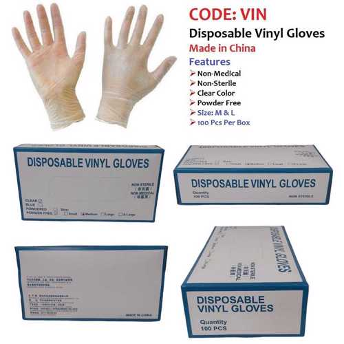 Disposable Vinyl Gloves Medium Clear 100 Pcs/Box Powder Free