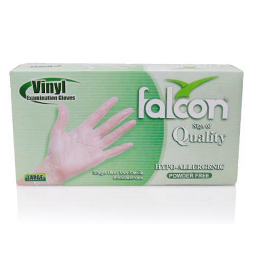 Falcon Vinyl Gloves Large Clear 100 Pcs/Box Powder Free