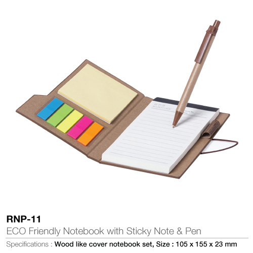 Eco Friendly Notebook With Sticky Note And Pen-105x155x23mm