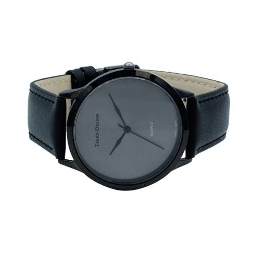 Trend Setter Men''s Black Watch - Leather Strap TD3103M-7