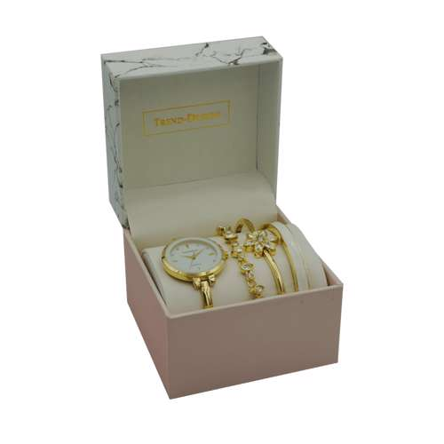 Trend Setter Women''s Gold Watch Set - Metal Band TD-9215-1