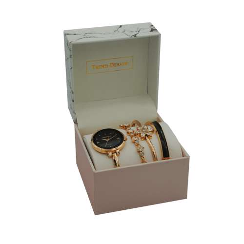 Trend Setter Women''s Rose Gold Watch Set - Metal Band TD-9215-4