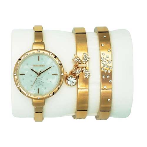 Trend Setter Women''s Rose Gold Watch Set - Metal Band TD-9216-3