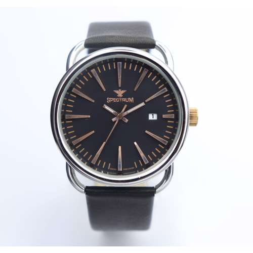 Challenger Men''s Black Watch - Leather S12454LM-2