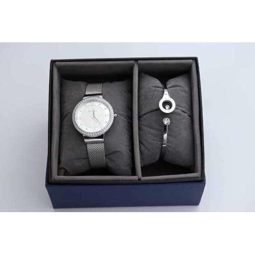Creative Women''s Silver Watch Set - Mesh Band S25177L-8B