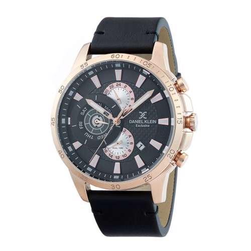 Leather Mens''s Black Watch - DK.1.12255-4
