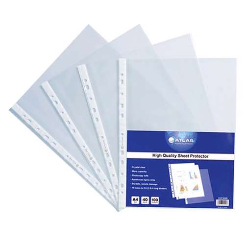 Atlas A4 Size Punched Pocket 60Micron-100 Pcs/Box