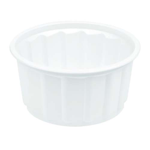 MPC PP Ribbed White Round Container With Lid 400ml-114Dia.- 1500pcs
