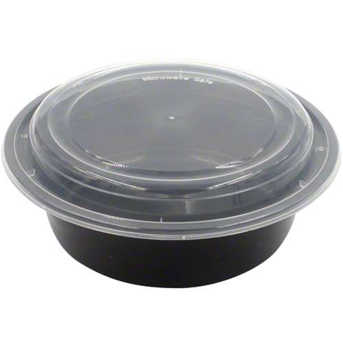 MPC PP Black Base Round Microwaveable Container With Clear Lid RO32- 150pcs