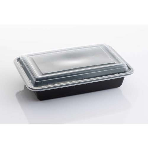 MPC PP Black Base Rectangular Microwaveable Container With Clear Lid RE32- 150pcs