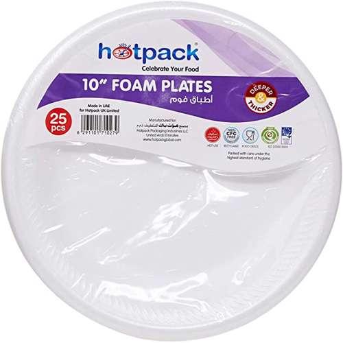"Hotpack Disposable Foam Plate 10"" - 500pcs"