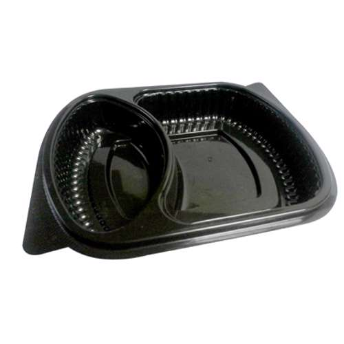 MPC PP Black Base Container Without Lid- 2 Compartment- 250pcs