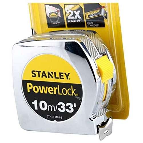 Stanley STHT33463-8 Power Lock M.Tape 10M/Ex25mm Metric-Imperial