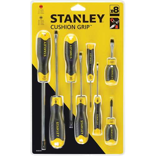 Stanley 0-65-011 Cushion Grip 8Pcs Set-Magnetic Tip Flared And Phillips
