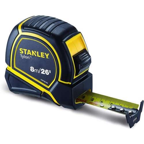 Stanley STHT36195 Tylon M. Tape Black 8mx25mm+E15 Metric-Imperial