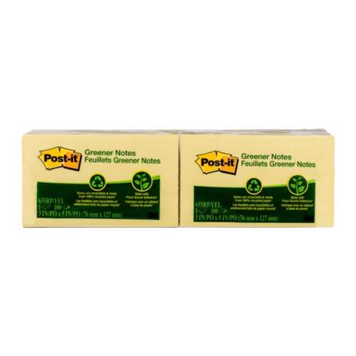 3M Post-It Greener Notes, 3 Inx5 In, Canary Yellow, 12Pack