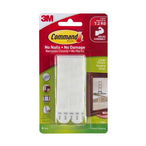3M Command 17206 Large Picture Hanging Strips, 4 Pairs,White