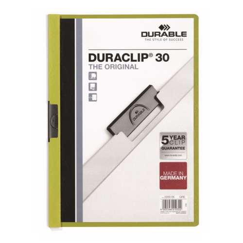 Durable 2200-05 Duraclip, Green Colour, A4 Size, 30 Sheets Capacity
