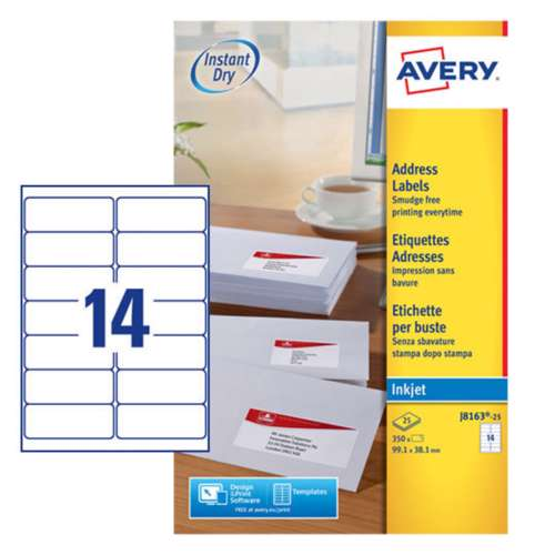 Avery Address Labels For Inkjet Printers J8163-25, 99.1x38.1mm Labels, White, 14 Labels Per Sheet, 25 Sheets In A Pack