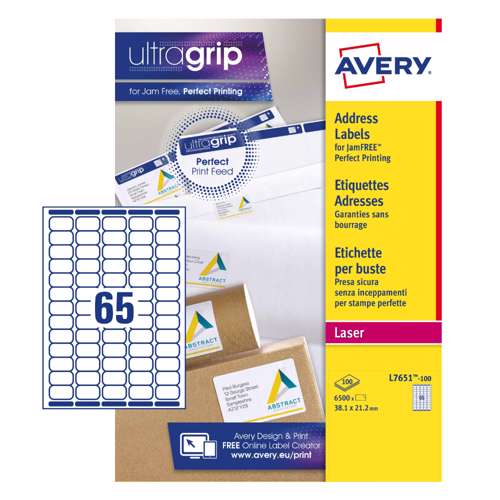 Avery Mini Laser Labels, L7651-100, 38x21mm White, 65 Labels Per Sheet, 100 Sheets In A Pack