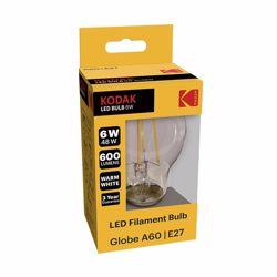Kodak Led Filament Bulb Globe A60 E27 6W 600L Warm White
