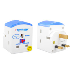 Terminator Multi Plug With Fited 13A Fuse 3 Pin Flat Plug 3 Way 3 Pin UK Socket