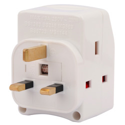 Terminator 3 Way UK Socket Multi Adaptor With Individual Switch With 2 Pin Allowed Shutter