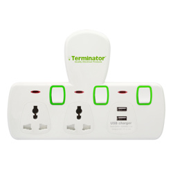 Terminator 2 Way Universal T Socket With 2USB, 2.1Ah Individual Switch And Indicator