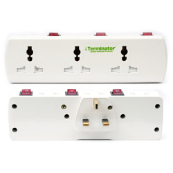 Terminator 6 Way Universal T Socket With Three Switches And Indicator
