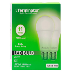 Terminator LED Bulb 11W Day Light E27 2 Pcs (Promo Pack)