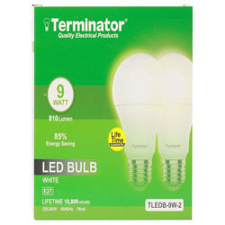 Terminator LED Bulb 9W Day Light E27 2 Pcs
