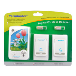 Terminator Door Bell Digital Wireless With 38 Different Melodies + 2 Transmitter and 1 Receiver DC