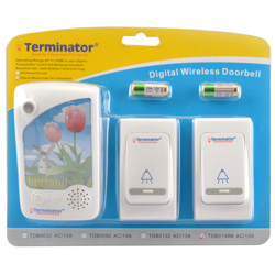 Terminator Door Bell Digital Wireless With 38 Different Melodies + 2 Transmitter and 1 Receiver 3 Pin Flat 13A