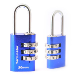 Terminator Combination Pad Lock (20mm) (Blue)