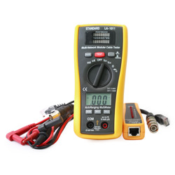 Standard 2 in 1 LAN Tester & Multimeter Measures DC/AC Voltage DC/AC Current Resistance Continuity and Diode