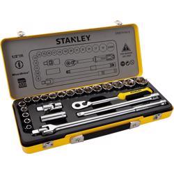 "Stanley 74-184-8 1/2"" Metal Tin Case Socket Set - 24Pc, 12Pts"