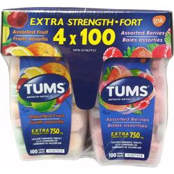 Tums Antacid Chewable Tablets, Extra Strength, 4 x 100 Tablets