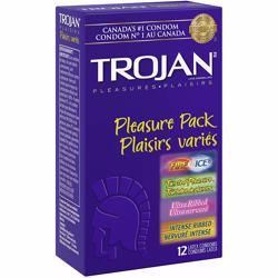 Trojan Pleasure Pack Assorted Lubricated Latex Condoms, 12 Count